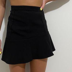 Woman Black Asymmetrical Flowy Skirt